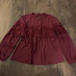 Harlowe graham burgundy long sleeve Flowy lace top